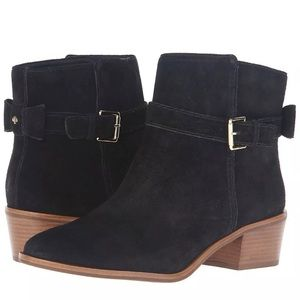 Kate Spade Taley Bow Black Suede Ankle Boots New